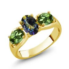 1.80 Ct Oval Blue Mystic Topaz Green Tourmaline 14K Yellow Gold Ring