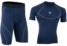 Mens Compression Armour Base layer Top Skin Fit + compression Shorts set