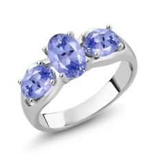 1.65 Ct Oval Blue Tanzanite 925 Sterling Silver Ring
