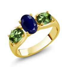 2.02 Ct Oval Blue Sapphire Green Tourmaline 18K Yellow Gold Plated Silver Ring