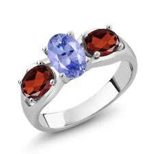 1.82 Ct Oval Blue Tanzanite AAA Red Garnet 18K White Gold Ring