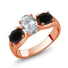 1.73 Ct Oval White Topaz Black Onyx 18K Rose Gold Plated Silver Ring