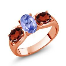 1.75 Ct Oval Blue Tanzanite Red Garnet 18K Rose Gold Plated Silver Ring