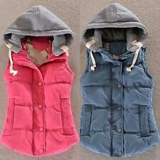 Stylish Womens Thick Warm Vest Slim Down Cotton Hooded Winter Jacket Coat Size #
