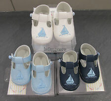 BABY BOYS T BAR SOFT PRAM SHOES FORMAL CHRISTENING PARTY WEAR WHITE NAVY BLUE
