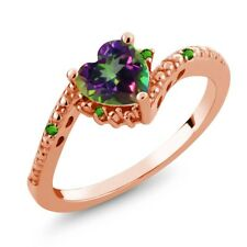 0.97 Ct Green Mystic Topaz Simulated Tsavorite 18K Rose Gold Plated Silver Ring