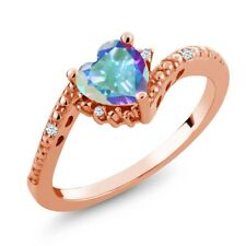 1.00 Ct Heart Shape Mercury Mist Mystic Topaz 18K Rose Gold Plated Silver Ring