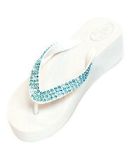Wedge Crystal Bling Wedding, Bridal or Beach Flip Flops White  200+ Blue Stones