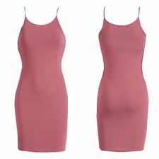 NEW WOMENS LADIES SLEEVELESS RIBBED STRETCH SEXY LOOK CAMI BODYCON MINI DRESS