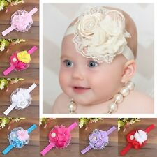 Cute Baby Girls Kid Lace Flower Headband Soft Elastic Rose Pearl Hairband Lovely