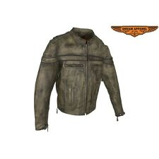 Men's Motorcycle Biker Brown Naked Cowhide Leather Jacket With Concealed Carry