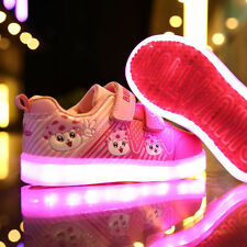 Boys Girls Sports Colorful LED Light Up Velcro Sneakers Kids Baby Dance Shoes