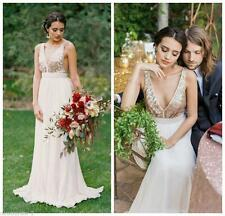 Sexy White/Ivory Bridesmaid Dress Deep V Neck Long Prom Pageant Reception Gown