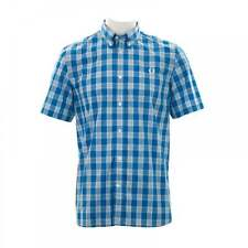 Fred Perry Mens Tartan Gingham Check Shirt (Prince Blue)