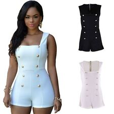 Women Lady Solid Polyester Jumpsuit Short Sleeve Romper Casual Clubwear Playsuit