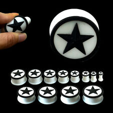 BLACK STAR WHITE SILICONE EAR PLUGS Stretchers Jewellery Piercing Tunnels PL78