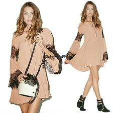 Womens Long Sleeve Chiffon Lace Splicing Cocktail Evening Party Mini Dress OO55