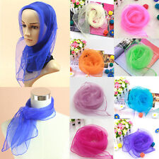 Women Ladies Chiffon Silk Slim Soft Square Neck Head Scarf Pure Candy Colors New