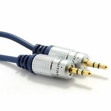HQ OFC Shielded 3.5mm Stereo Jack to Jack Cable Gold Headphone/MP3 0.5m/1M - 15M