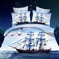 3D Bedding Quilt Doona Duvet Cover Bed Sheet Pillowcase Set Queen -Sail Boat