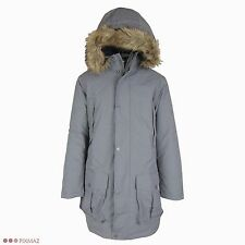 Timberland Men's Parka Gray Waterproof Dry Faux Fur Gray Hooded Coat Style 8141J
