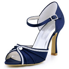 EL-033 Satin Peep Toe High Heel Evening Sandals Rhinestones Buckle Wedding Shoes