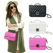 Casual Women Chain Shoulder Crossbody Bag Quilted PU Leather Handbag Purse V2H3