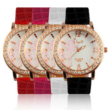 Women's Flower Crystal Round Dial Quartz PU Leather Band Wrist Watch Gift QT