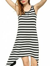 Summer Ladies Women Cool Sleeveless Striped Asymmetric Hem Dress Beach