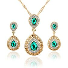 New Pretty Crystal Waterdrop Necklace Earrings Wedding Party Female Jewelry Set
