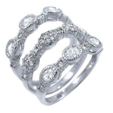Stackable CZ 3 Piece Ring Set Sterling Silver Cubic Zirconia Semi Eternity