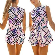 Women Shorts Sleeveless Playsuit Top Floral Print Bodycon Jumpsuit Romper Party