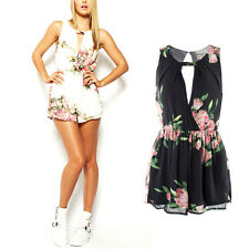 Lady Summer Sleeveless Bodycon Chiffon Floral Romper Playsuit Jumpsuit Trousers