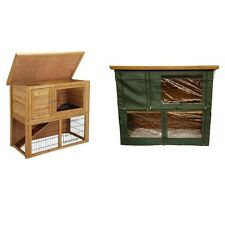 Lazy Bones Rabbit Hutch / Enclosure With Run - Optional Green Cover Available