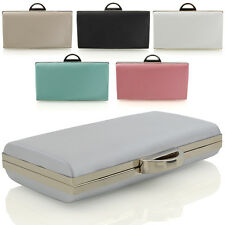 NEW WOMENS SATIN CLUTCH BAG LADIES HARD CASE BRIDAL EVENING PARTY PURSE HANDBAG