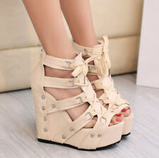 New Womens Punk Wedge Heels Roman Open Toe Sandals Strap Lace Up Platform Shoes