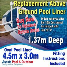 NEW Above Ground Swimming Pool Oval Liner 4.5m x 3.0m & 1.37m deep, 5yr warranty
