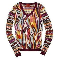 NEW! Missoni Knit Sweater Blouse Red Colore Floral - Mixed Media Chiffon/Cotton