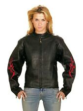 Women's Genuine Leather Motorcycle Biker Jacket With Side Laces & Flames