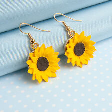 Sunflower Drop Earring with choice of metal finish hand painted Made in Wales UK