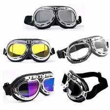 MOTORCYCLE STEAMPUNK HALF HELMET FLIGHT AVIATOR EYEWEAR GLASSES GOGGLES CHROME