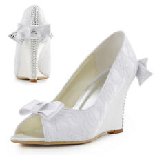 WP1414 High Heel Wedges Peep Toe Lace Satin Bow Rhinestones Bridal Wedding Shoes