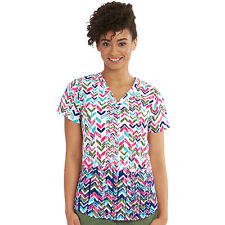 Nrg by Barco Uniforms Women's V-Neck Chevron Print Scrub Top 3157