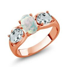 1.49 Ct Oval Cabochon White Opal Aquamarine 18K Rose Gold Plated Silver Ring