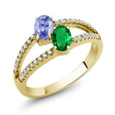 1.26 Ct Tanzanite Simulated Emerald Two Stone 18K Yellow Gold Plated Silver Ring