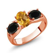 1.48 Ct Oval Checkerboard citrine Black Onyx 18K Rose Gold Plated Silver Ring