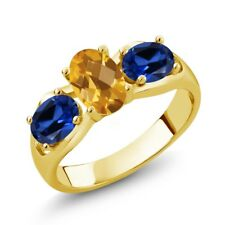 1.70 Ct Oval Checkerboard citrine Blue Simulated Sapphire 18K Yellow Gold Ring