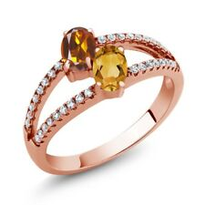 1.21 Ct Madeira Citrine citrine Two Stone 18K Rose Gold Plated Silver Ring