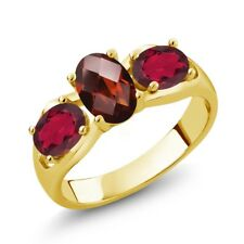 1.80 Ct Oval Red Garnet Red Mystic Topaz 18K Yellow Gold Plated Silver Ring