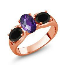 1.53 Ct Oval Checkerboard Amethyst Black Onyx 18K Rose Gold Plated Silver Ring
